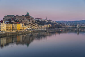 View of Budapest Castle reflecting in the Danube River during early morning, UNESCO