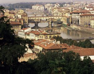 View over the city including the River Arno