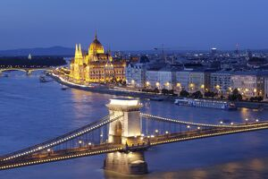 View over Danube River to Chain Bridge and Parliament, UNESCO World Heritage Site