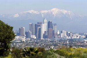 View of downtown Los Angeles looking towards San Bernardino Mountains, California