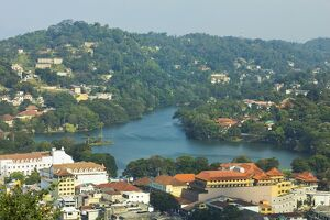 View east to the lake and the white Queen's Hotel on left and Kandy City Centre shopping complex in centre, Kandy, Sri
