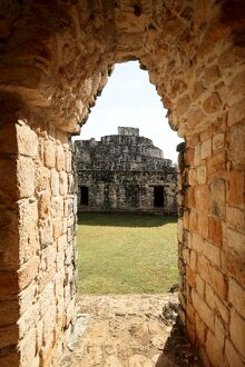 View through the Entrance Arch, Mayan ruins, Ek Balam, Yucatan, Mexico, North America