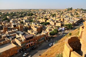 view fortifications jaisalmer rajasthan india