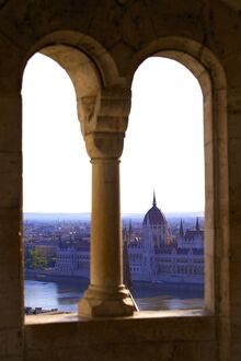 View of Hungarian Parliament Building from Fisherman's Bastion, Budapest, Hungary
