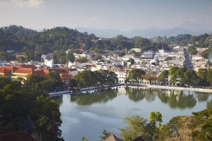 View over Kandy Lake and city centre, Kandy, Sri Lanka, Asia