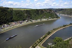 View from Loreley to St. Goarshausen and the River Rhine, Rhine Valley