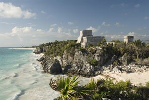 View to the north and El Castillo (the Castle) at the Mayan ruins of Tulum