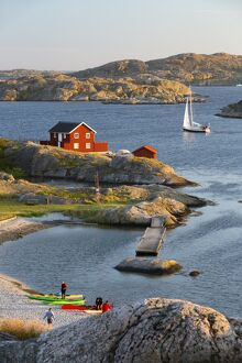View over red Swedish house and islands of archipelago, Skarhamn, Tjorn, Bohuslan Coast