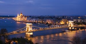 View over River Danube, Chain Bridge and Hungarian Parliament Building at night
