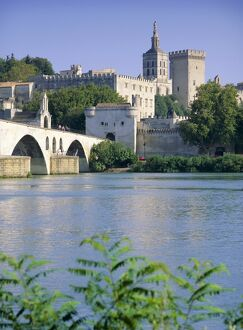 View across River Rhone to bridge and Papal Palace, Avignon, UNESCO World Heritage Site
