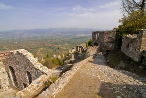 View over the ruins of Mystras, UNESCO World Heritage Site, Peloponnese, Greece, Europe