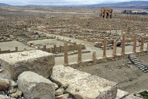 View from the theatre overlooking the Roman site of Timgad, UNESCO World Heritage Site