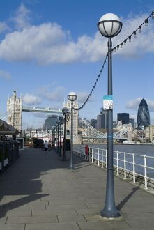 View of Tower Bridge and the Thames, near the Design Museum, London, England