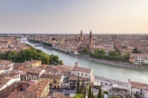 The view over Verona, UNESCO World Heritage Site, from Piazzale Castel San Pietro