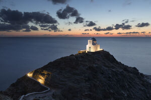 white greek orthodox chapel eftamartyres headland dawn