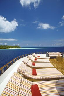 Yacht and tropical island, Maldives, Indian Ocean, Asia