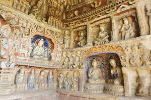 Yungang Caves cut during the Northern Wei Dynasty, dating from 460 AD, UNESCO World Heritage Site near Datong, Shanxi province,