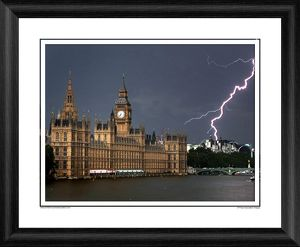 Lightning Strikes Houses Of Parliament Framed Photographic Print