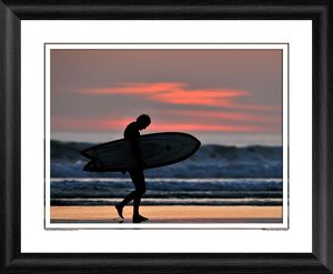 A Surfer at Sunset Framed Photographic Print