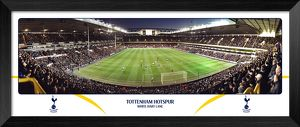 Tottenham Hotspur FC White Hart Lane Match Night Behind Goal Framed Panoramic Print