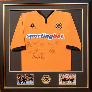 Wolves framed and mounted signed shirt