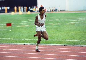 A 17 year old Daley Thompson competes at the 1976 Montreal Olympics
