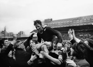 All Black captain Ian Kirkpatrick is chaired off the field by Barbarians players in 1973