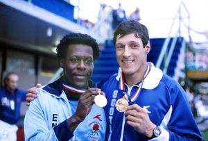 Allan Wells and Mike McFarlane with their shared 1982 Commonwealth 200m gold medals