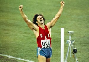 Bruce Jenner celebrates winning decathlon gold at the 1976 Montreal Olympics