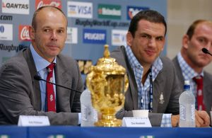 Clive Woodward, Martin Johnson, Lawrence Dallaglio, and the Webb Ellis Cup