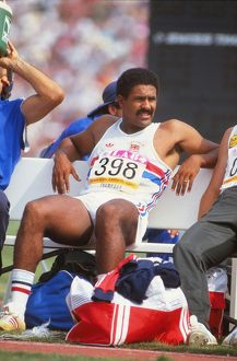 Daley Thompson relaxes on the way to gold at the 1984 Olympics