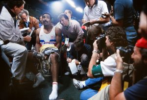 Daley Thompson talks to the press at the 1988 Olympics