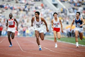 Daley Thompson wins the 100m during the men's decathlon at the 1980 Olympics