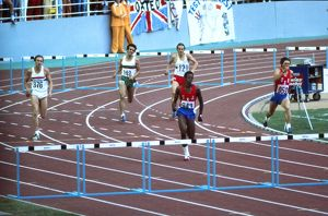 Edwin Moses on his way to winning gold at the 1976 Montreal Olympics