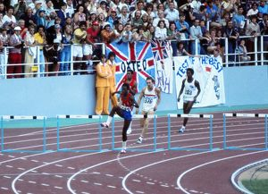 Edwin Moses on the way to winning gold at the 1976 Montreal Olympics