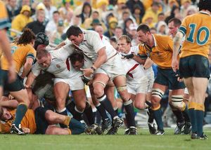 The England forwards drive the ball forward during the 2003 World Cup Final