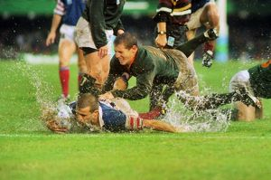 France's Fabien Galthie and South Africa's James Small - 1995 Rugby World Cup