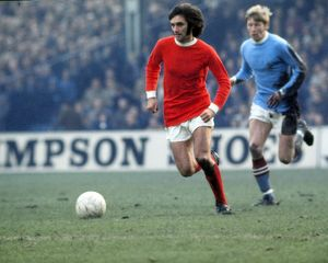 George Best of Man Utd, chased by Colin Bell of Manchester 1969