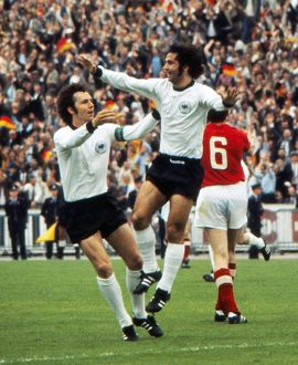 Gerd Muller celebrates his goal with Franz Beckenbauer in the final of Euro 72