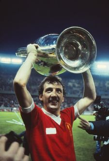 Goalscorer Alan Kennedy celebrates with the 1981 European Cup