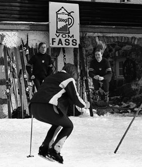 The Great Britain Ladies ski team warm up for a training session in November 1970