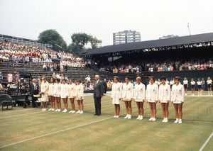 The Great Britain and USA teams line-up on Centre Court - 1970 Wightman Cup