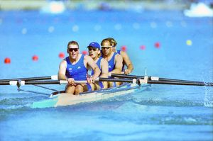 Great Britain's Coxless four rowers on the way to gold at the Sydney Olympics