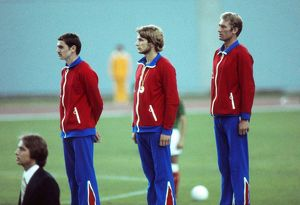 Great Britain's gold medal-wiining modern pentathlon team at the 1976 Montreal