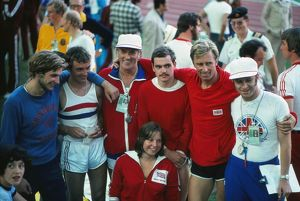 Great Britain's gold medal-winning modern pentathlon team at the 1976 Montreal
