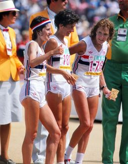 Great Britain's Sarah Rowell, Priscilla Welch, and Joyce Smith prepare to start