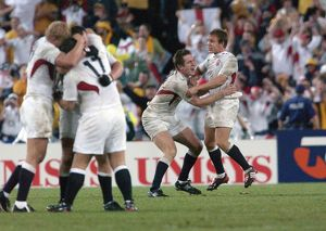Will Greenwood and Jonny Wilkinson celebrate after the final whistle of the 2003