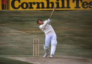 Ian Botham hits a boundary on the way to his famous 149 not out at Headingly in the 1981 Ashes