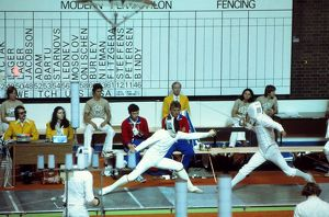 Jim Fox and Boris Onischenko during their infamous fencing bout at the 1976 Montreal
