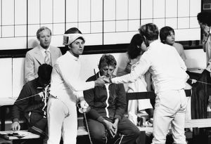 Jim Fox reluctantly shakes hands with Boris Onishchenko after their infamous fencing